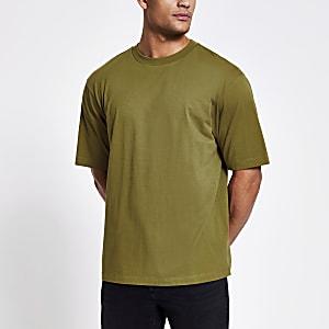 Kaki oversized T-shirt met kort mouwen