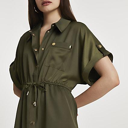 Khaki short sleeve tie waisted shirt dress