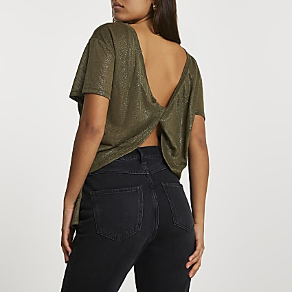 Khaki short sleeve twist back t-shirt
