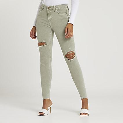 Khaki skinny ripped mid rise jeans