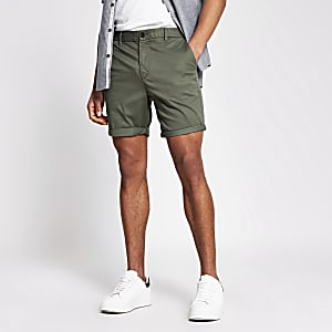Kaki slim-fit chino shorts