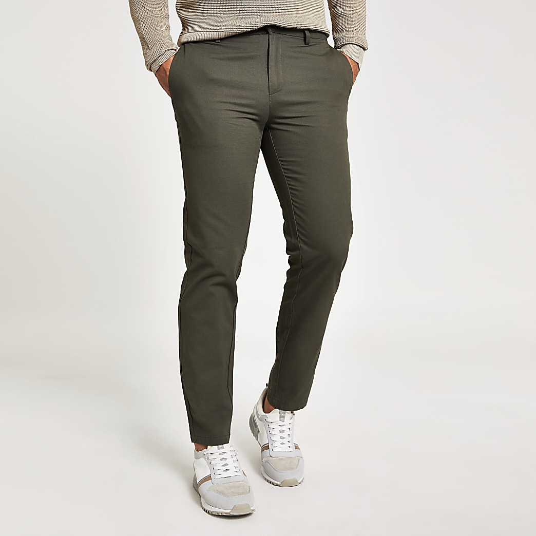 Khaki slim chino trousers