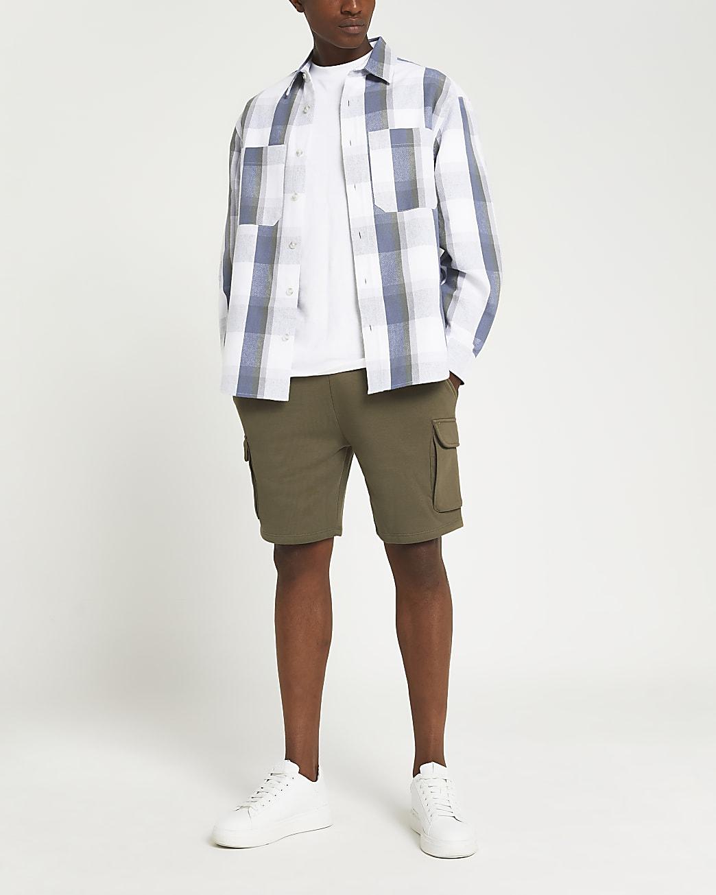 Khaki slim fit cargo shorts