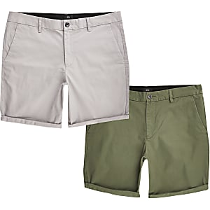 Set van 2 kaki slim-fit chino shorts