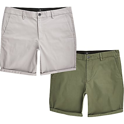 Khaki slim fit chino shorts 2 pack