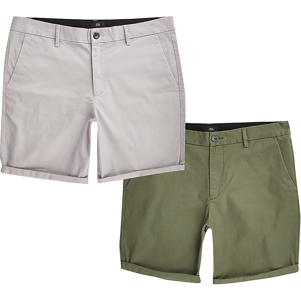 Set van 2 kaki slim-fit chino shorts