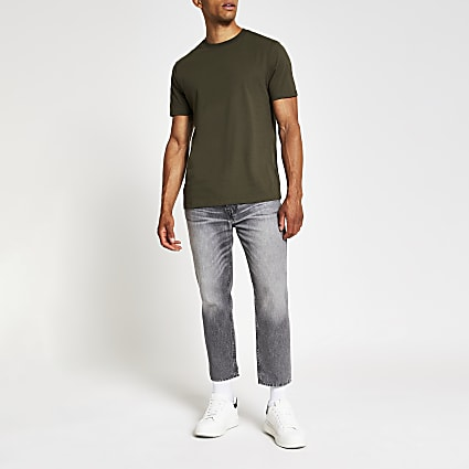 Khaki slim fit crew neck T-shirt