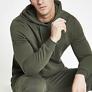 Kaki slim-fit hoodie met lange mouwen