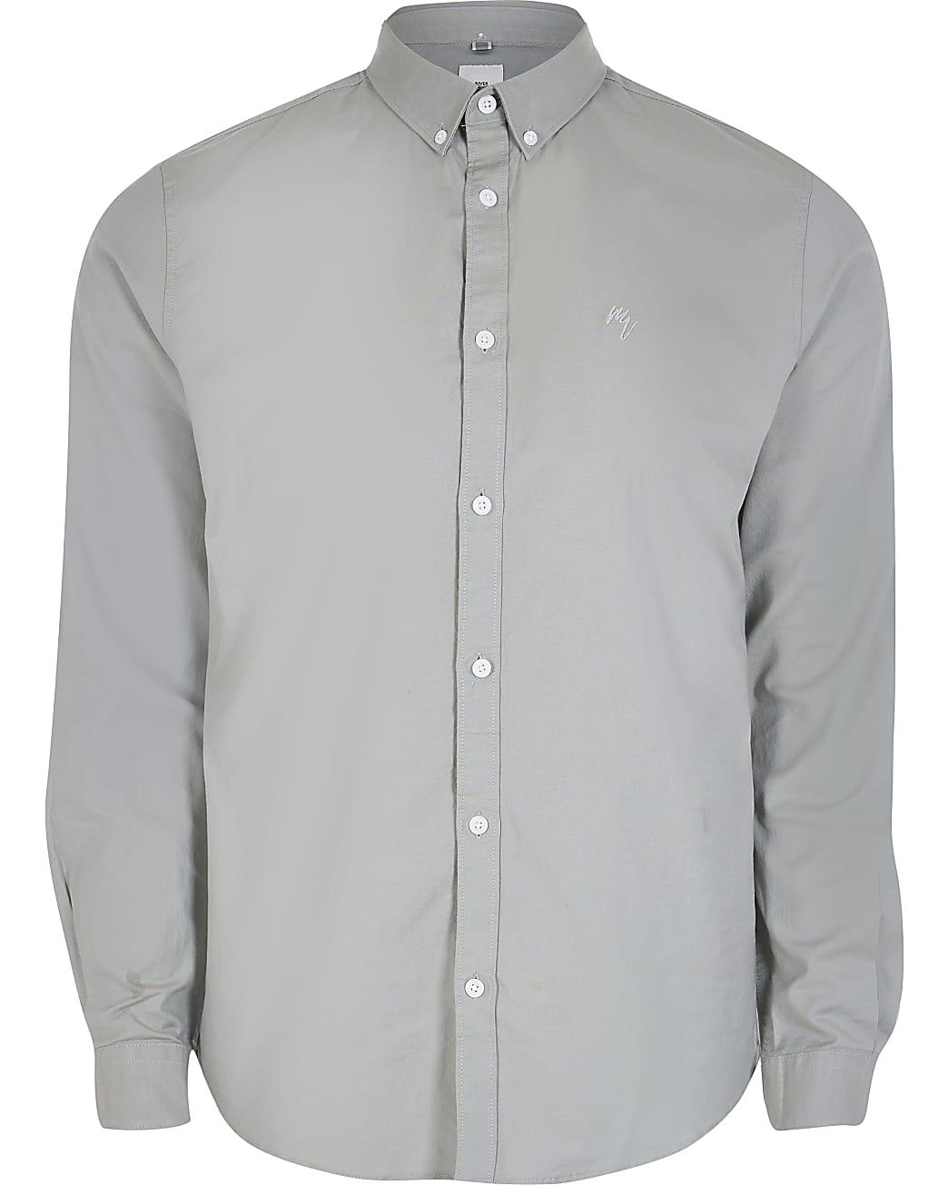 Khaki slim fit long sleeve Oxford shirt