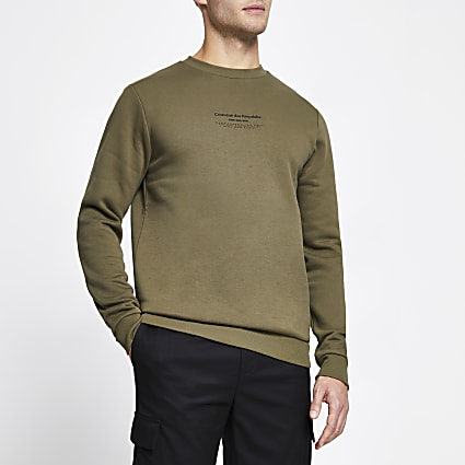 Khaki slim fit long sleeve sweatshirt