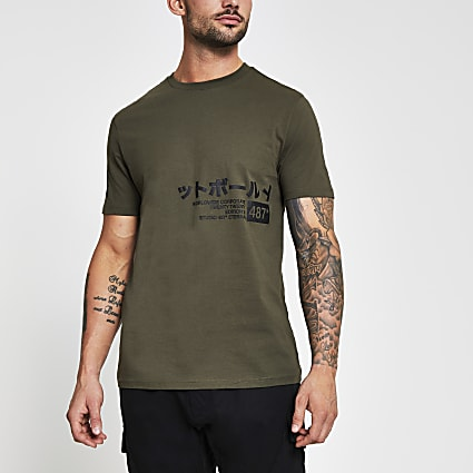 Khaki slim fit print t-shirt