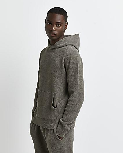 Khaki slim fit towelling hoodie
