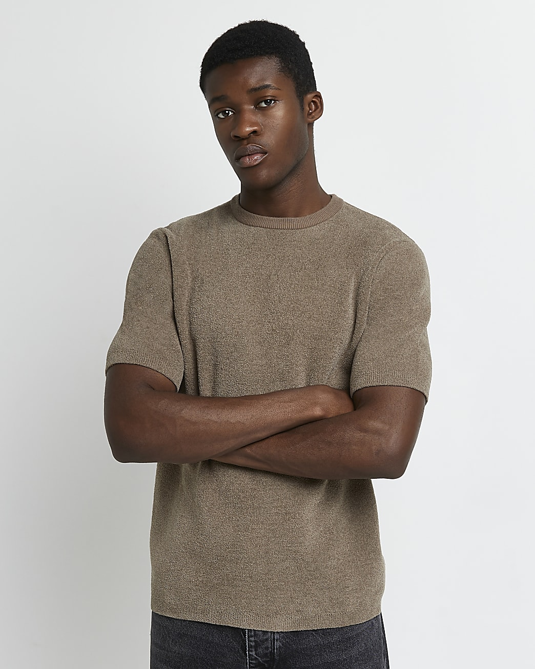 Khaki slim fit towelling t-shirt