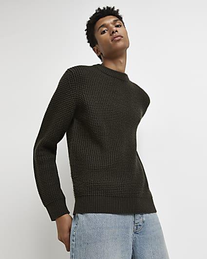 Khaki slim fit waffle jumper
