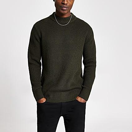 Khaki slim fit waffle knitted jumper