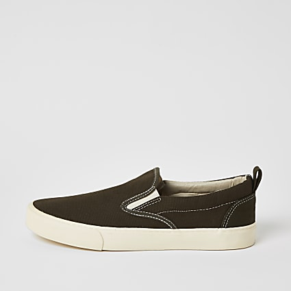 Khaki slip on trainers