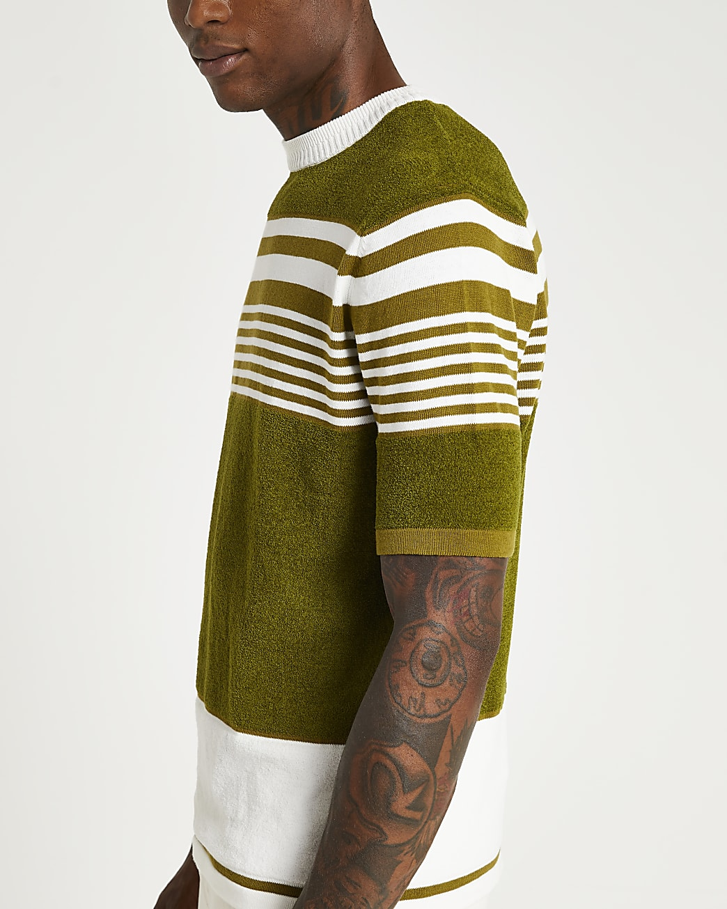 Khaki stripe towelling slim fit t-shirt