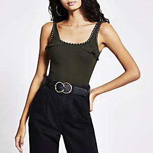 Khaki studded frill vest