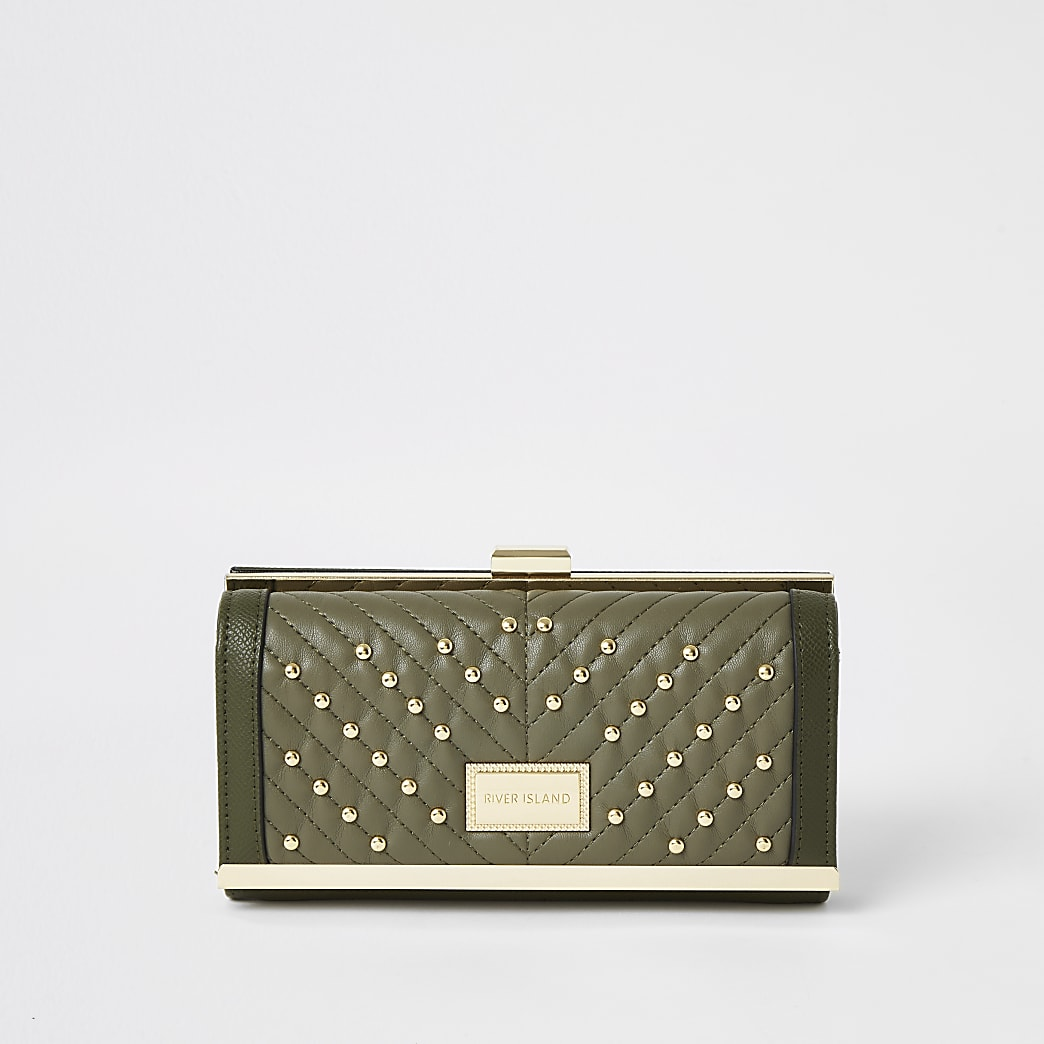 Khaki studded quilt clip top purse