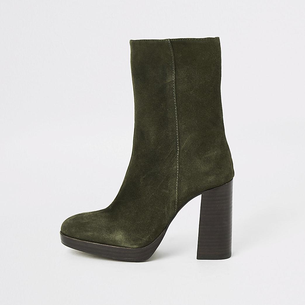 Khaki suede platform heel boots