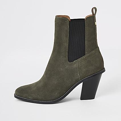 Khaki suede western heeled boots