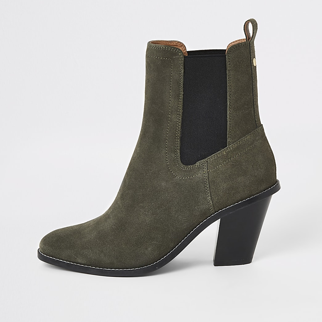 Khaki suede western heeled boots