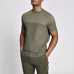 Khaki textured blocked slim fit T-shirt