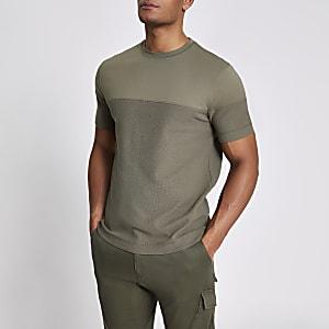 Kaki slim-fit T-shirt met textuur en kleurvlakken