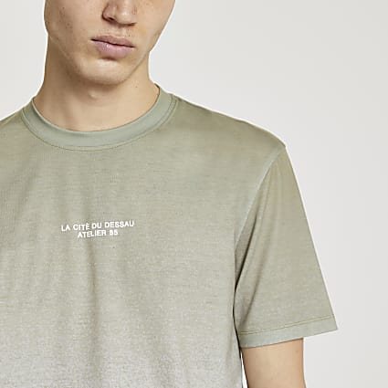 Khaki textured fade slim fit t-shirt
