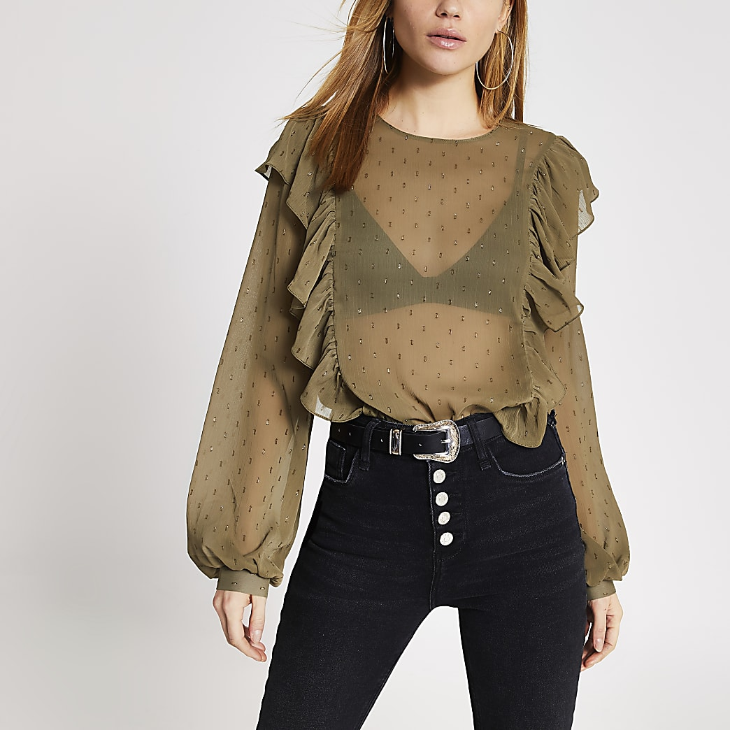 Khaki textured frill front sheer blouse