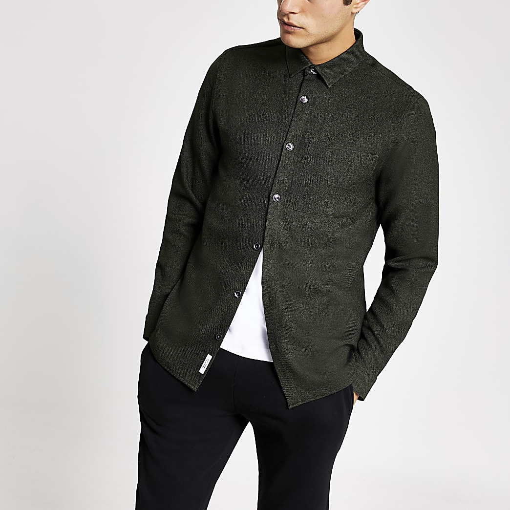Khaki textured regular fit shirt