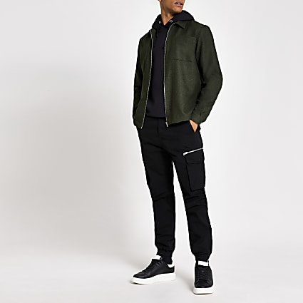 Khaki textured zip through regular fit shirt