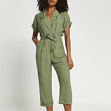 Khaki tie front utility jumpsuit