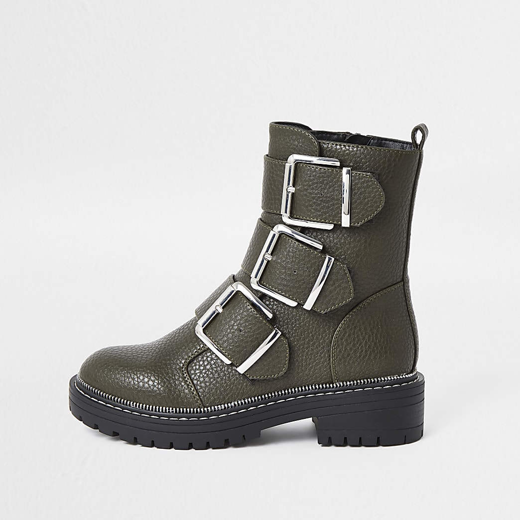 Khaki triple buckle high boots