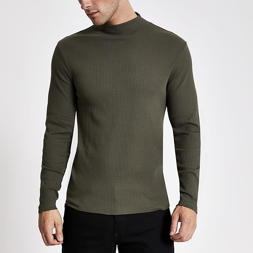Khaki turtle neck long sleeve T-shirt