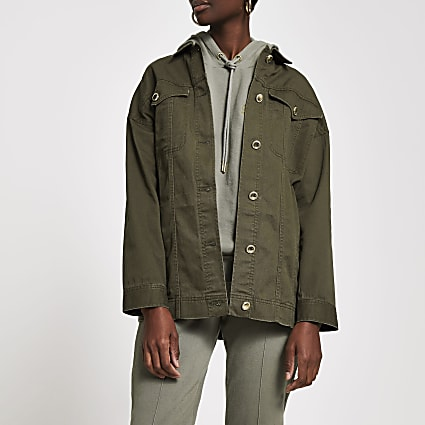 Khaki twill gold button shacket