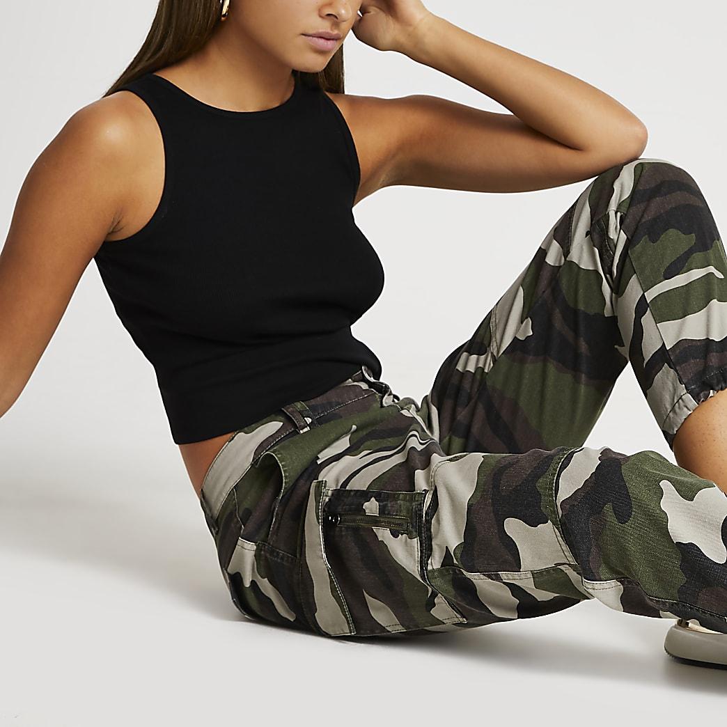 Khaki utility camo zip twill trousers
