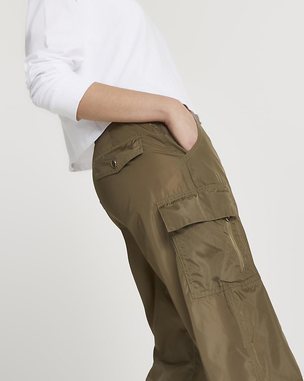Khaki utility nylon cuffed trousers