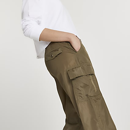 Khaki utility nylon cuffed trousers