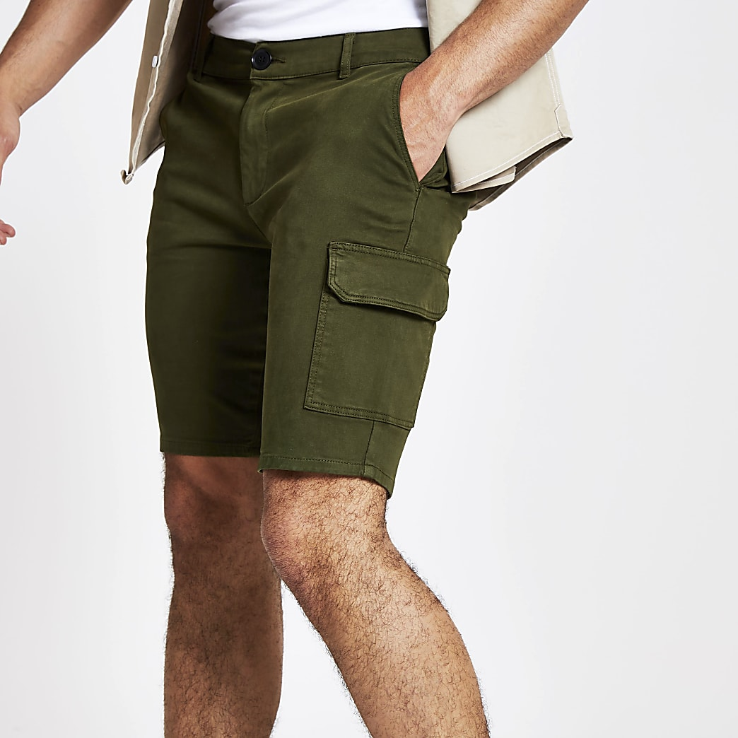 Short skinny utilitaire kaki