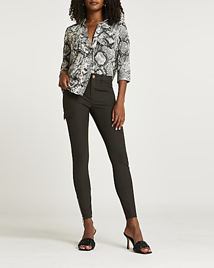 Khaki utility skinny trousers