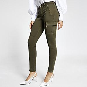 Pantalon utilitaire skinny kaki zippé sur le devant