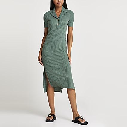 Khaki v neck collar button midi dress