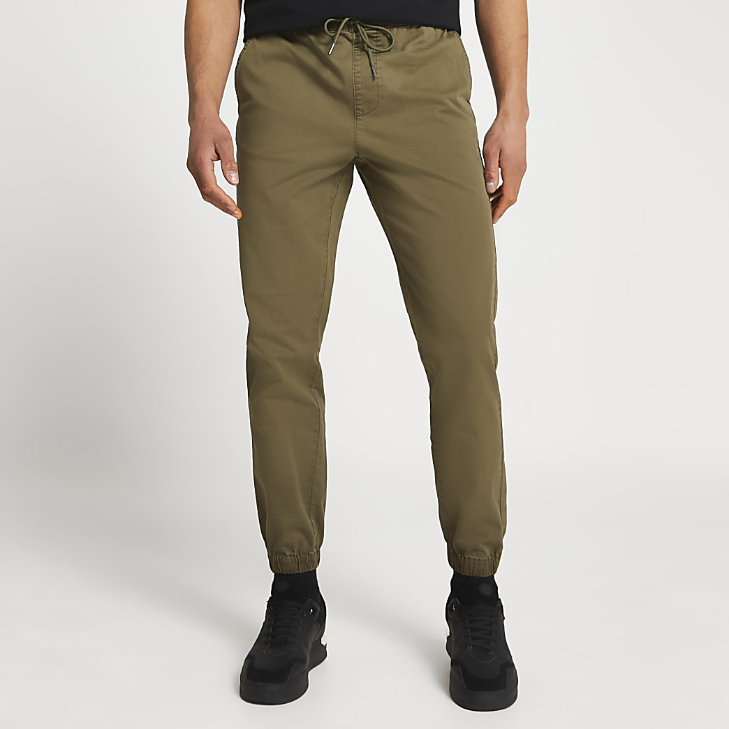 Khaki washed casual slim fit chinos