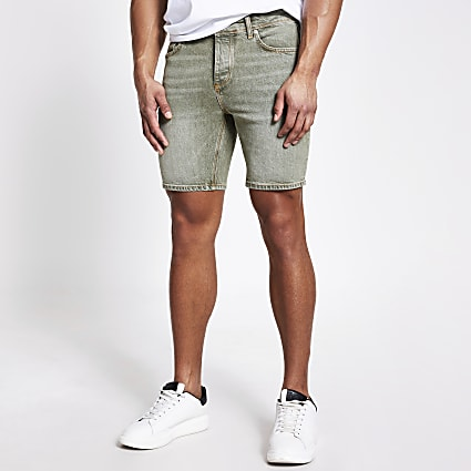 Khaki washed Dylan slim fit denim shorts