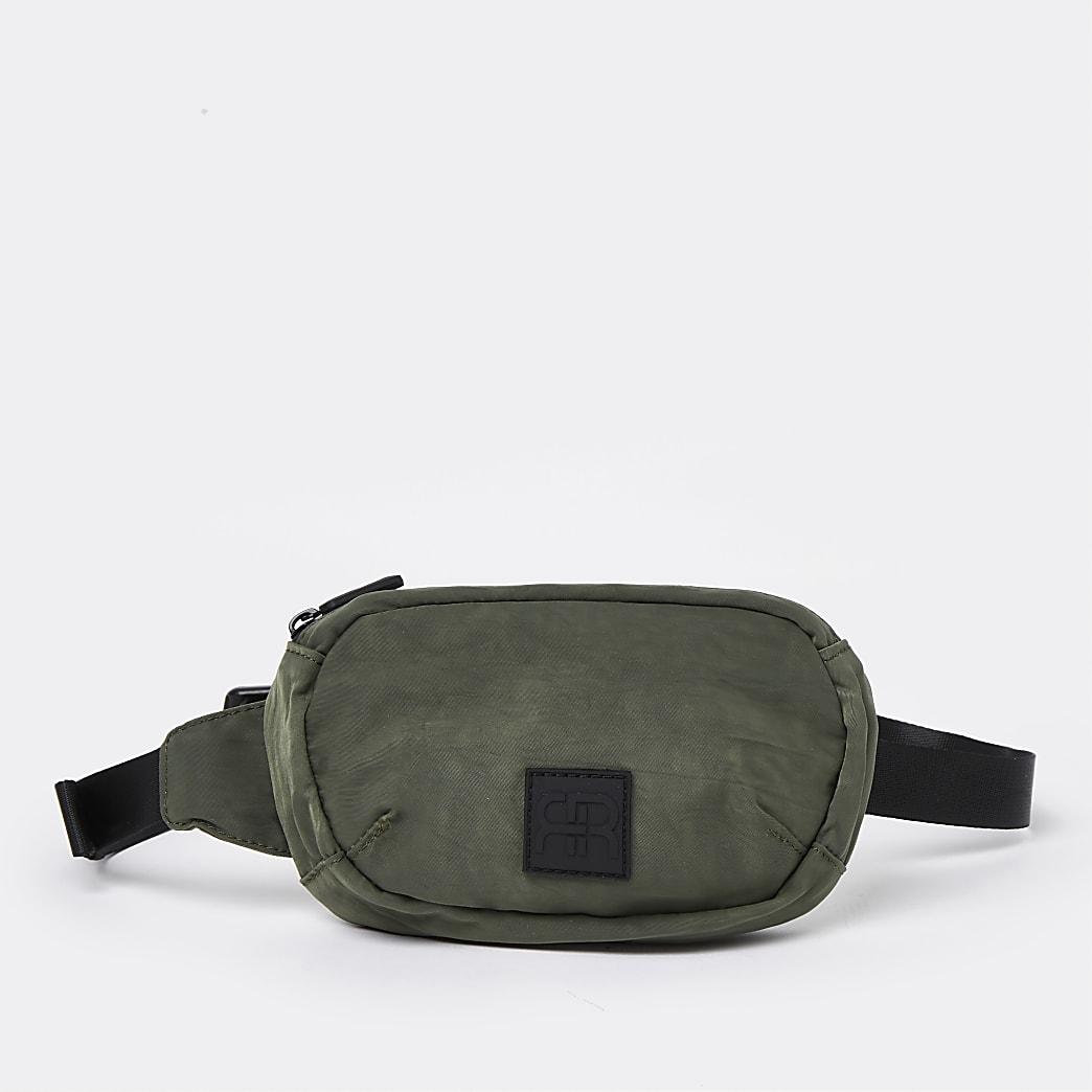 Khaki washed nylon crossbody bag