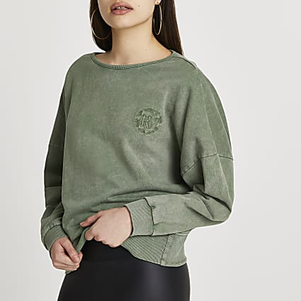 Khaki washed open back sweatshirt