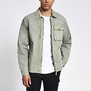 Khaki washed zip front overshirt