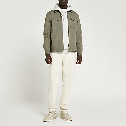 Khaki zip front denim overshirt jacket