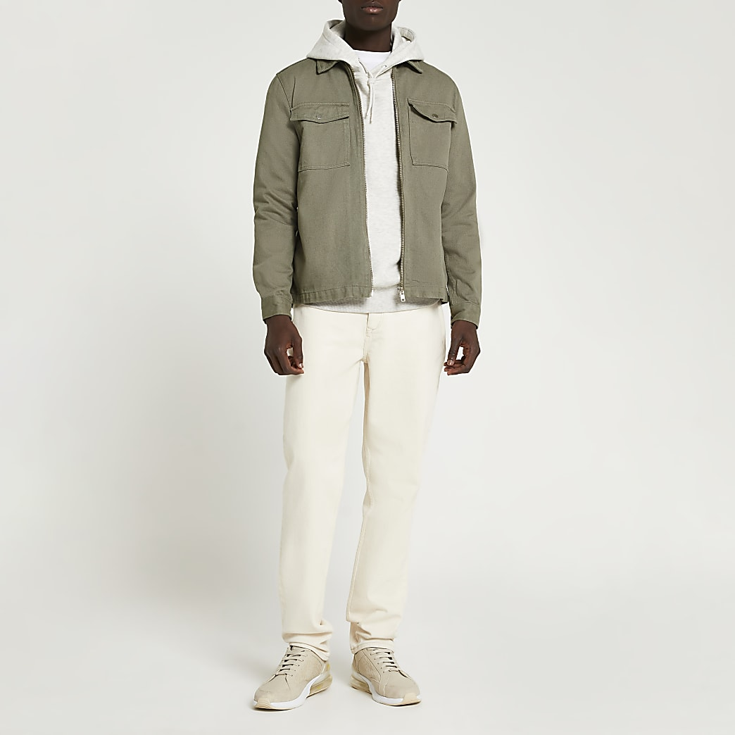 Khaki zip front denim shacket